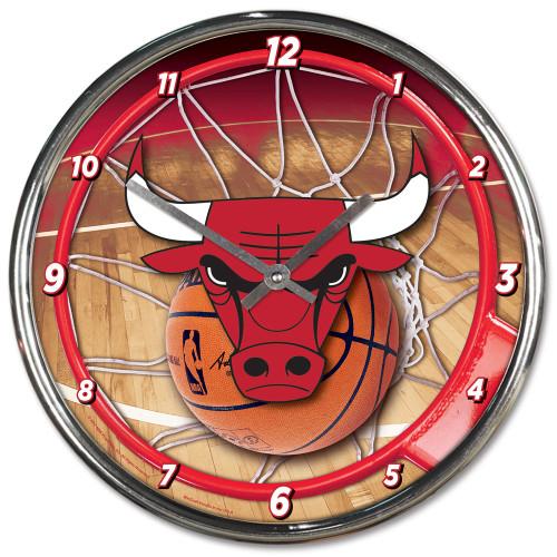 Chicago Bulls Clock Round Wall Style Chrome