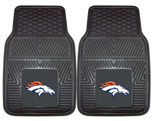 Denver Broncos Car Mats Heavy Duty 2 Piece Vinyl