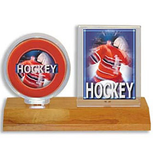 Hockey Puck & Card Holder - Wood Base