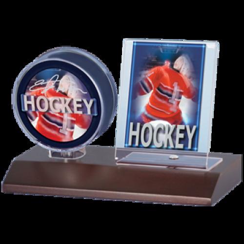 Wood Hockey Puck & Card Holder - Dark Wood