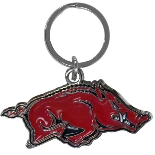 Arkansas Razorbacks Chrome Logo Cut Keychain