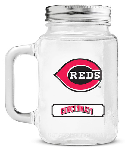 Cincinnati Reds Mason Jar Glass With Lid