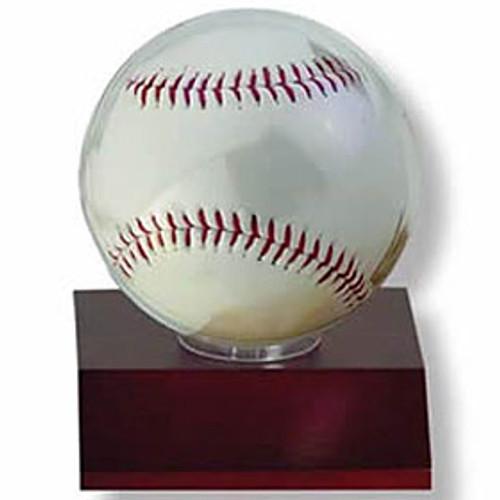 Wood Baseball Holder - Dark Wood