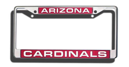 Arizona Cardinals License Plate Frame Laser Cut Chrome