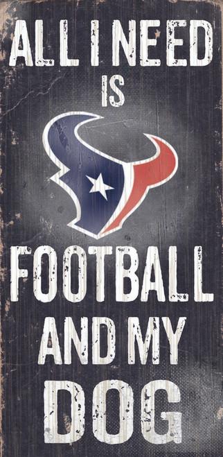 "Houston Texans Wood Sign - Football and Dog 6""x12"""