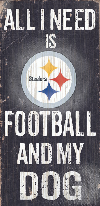 """Pittsburgh Steelers Wood Sign - Football and Dog 6""""x12"""""""