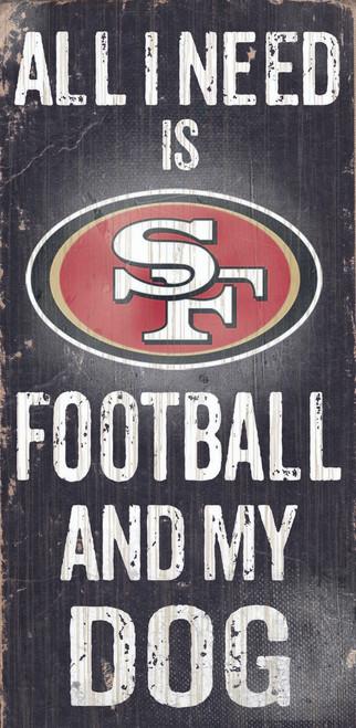 "San Francisco 49ers Wood Sign - Football and Dog 6""x12"""