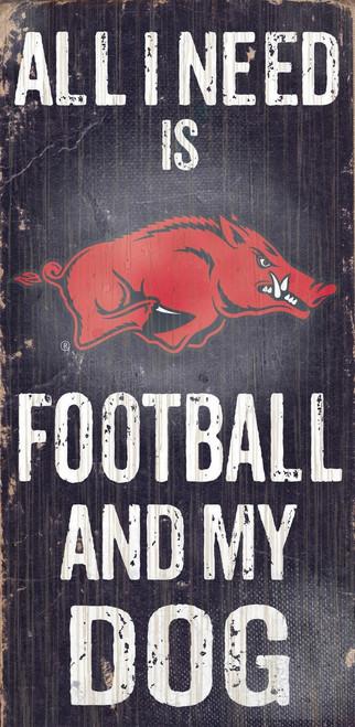 "Arkansas Razorbacks Wood Sign - Football and Dog 6""x12"""