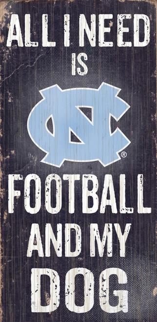 "North Carolina Tar Heels Wood Sign - Football and Dog 6""x12"" - Special Order"