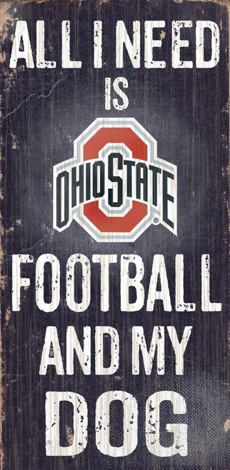 "Ohio State Buckeyes Wood Sign - Football and Dog 6""x12"""