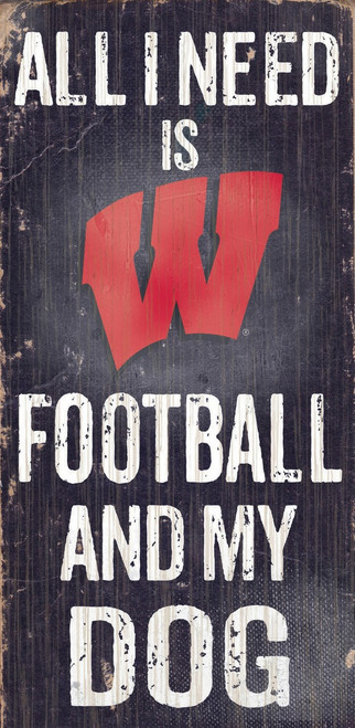 """Wisconsin Badgers Wood Sign - Football and Dog 6""""x12"""""""