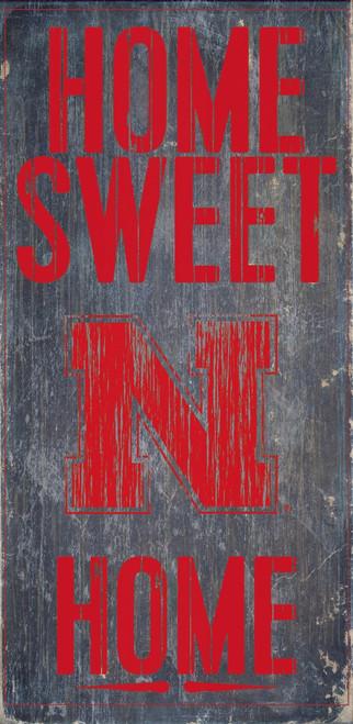 "Nebraska Cornhuskers Wood Sign - Home Sweet Home 6""x12"""