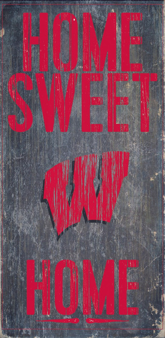 """Wisconsin Badgers Wood Sign - Home Sweet Home 6""""x12"""""""