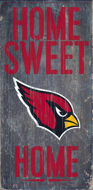 "Arizona Cardinals Wood Sign - Home Sweet Home 6""x12"""