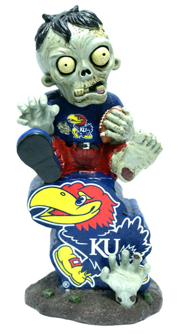 Kansas Jayhawks Zombie On Logo with Football Figurine