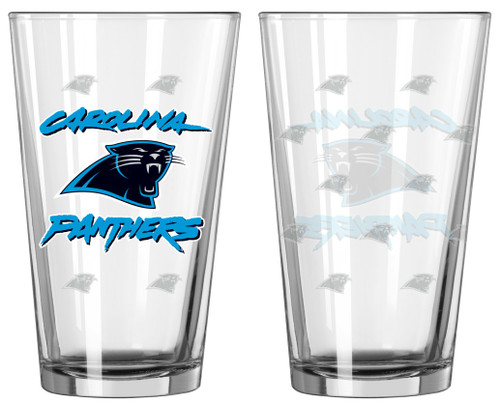Carolina Panthers Satin Etch Pint Glass Set