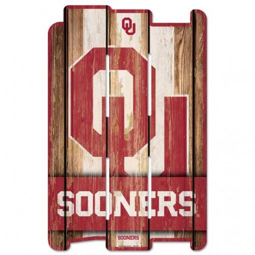 Oklahoma Sooners Sign 11x17 Wood Fence Style