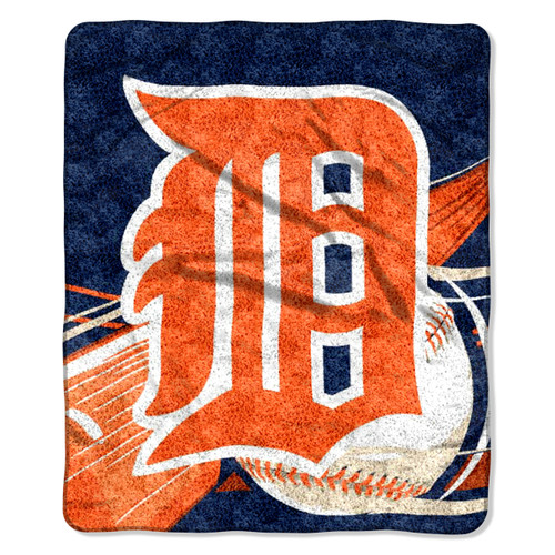 Detroit Tigers Blanket 50x60 Sherpa Big Stick Design