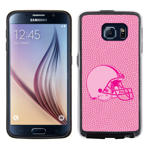Cleveland Browns Phone Case Pink Football Pebble Grain Feel Samsung Galaxy S6