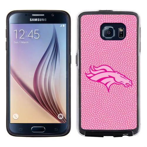 Denver Broncos Phone Case Pink Football Pebble Grain Feel Samsung Galaxy S6