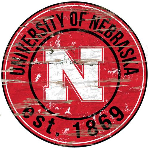 "Nebraska Cornhuskers Wood Sign - 24"" Round - Special Order"