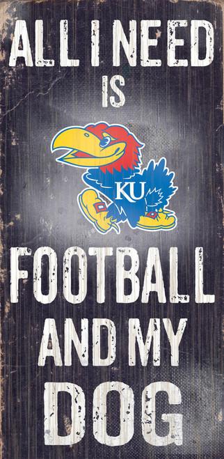 Kansas Jayhawks Wood Sign - Football and Dog 6x12 - Special Order