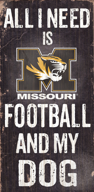 Missouri Tigers Wood Sign - Football and Dog 6x12 - Special Order