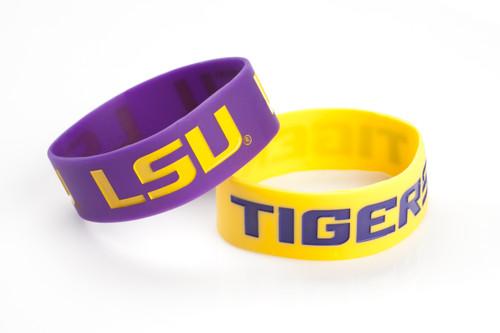LSU Tigers Bracelets 2 Pack Wide - Special Order