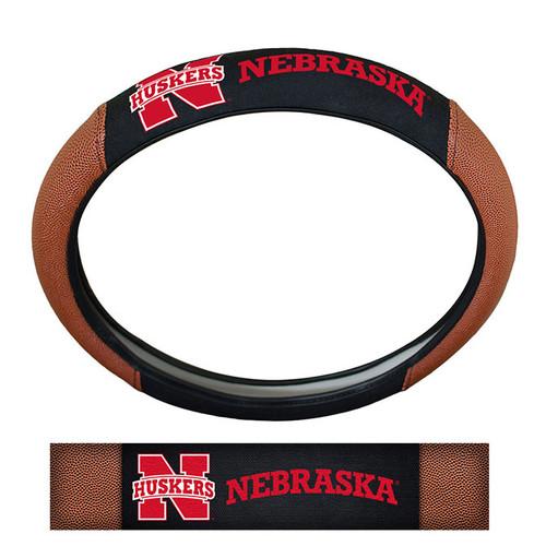 Nebraska Cornhuskers Steering Wheel Cover Premium Pigskin Style - Special Order