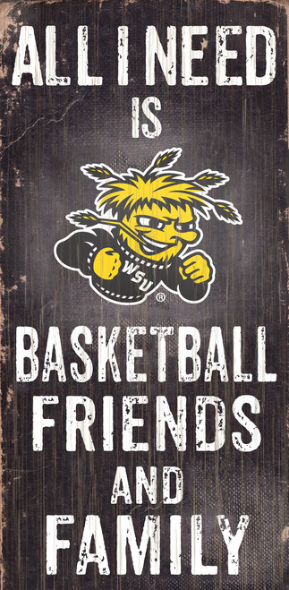 "Wichita State Shockers Wood Sign - Basektball Friends and Family - 6""x12"" - Special Order"