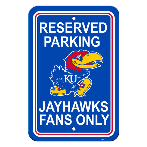 Kansas Jayhawks Sign - Plastic - Reserved Parking - 12 in x 18 in - Special Order