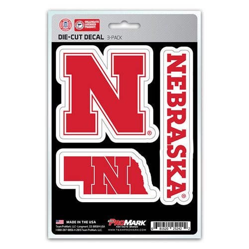 Nebraska Cornhuskers Decal Die Cut Team 3 Pack