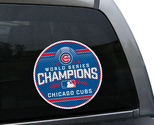 Chicago Cubs Large Window Film - 2016 World Series Champs