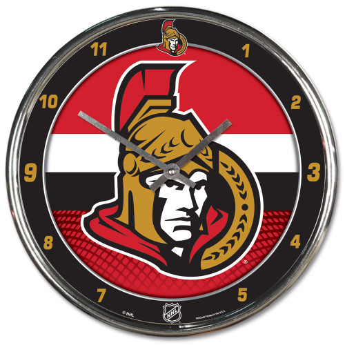 Ottawa Senators Clock Round Wall Style Chrome
