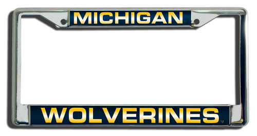 Michigan Wolverines License Plate Frame Laser Cut Chrome