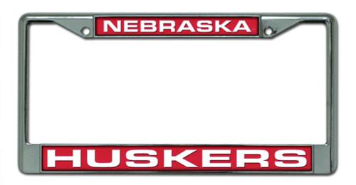 Nebraska Cornhuskers License Plate Frame Laser Cut Chrome