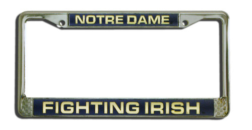 Notre Dame Fighting Irish License Plate Frame Laser Cut Chrome