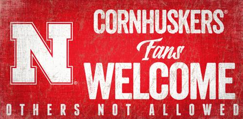 Nebraska Cornhuskers Wood Sign Fans Welcome 12x6