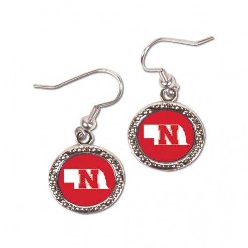 Nebraska Cornhuskers Earrings Round Style - Special Order