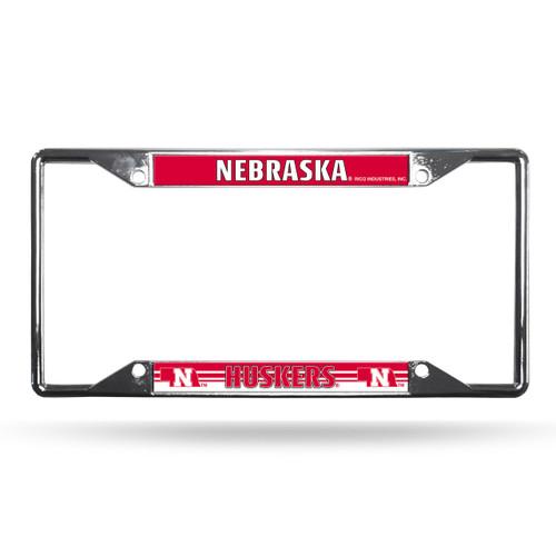 Nebraska Cornhuskers License Plate Frame Chrome EZ View
