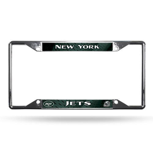 New York Jets License Plate Frame Chrome EZ View - Special Order