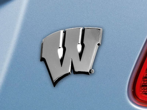 Wisconsin Badgers Auto Emblem Premium Metal Chrome