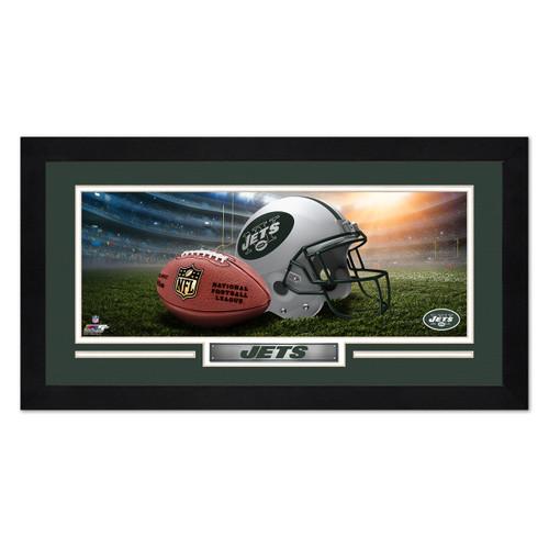 New York Jets Print 13x7 Framed Helmet in Stadium Design
