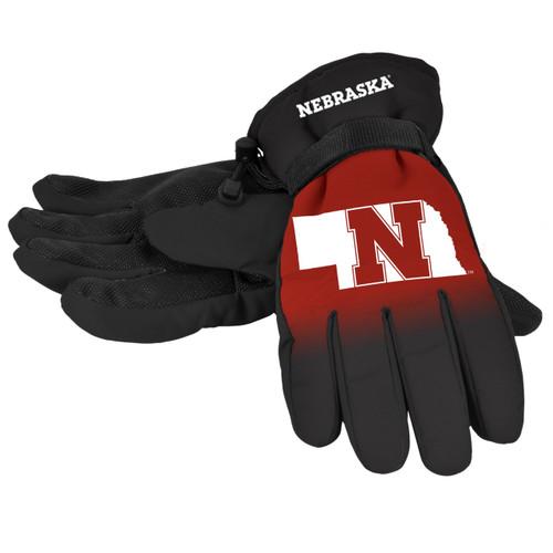 Nebraska Cornhuskers Gloves Insulated Gradient Big Logo Size Small/Medium