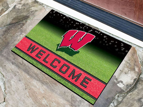 Wisconsin Badgers Door Mat 18x30 Welcome Crumb Rubber - Special Order