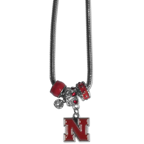 Nebraska Cornhuskers Necklace Euro Bead Style - Special Order