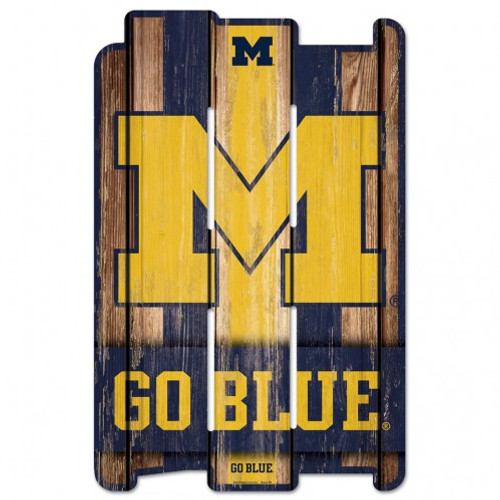 Michigan Wolverines Sign 11x17 Wood Fence Style