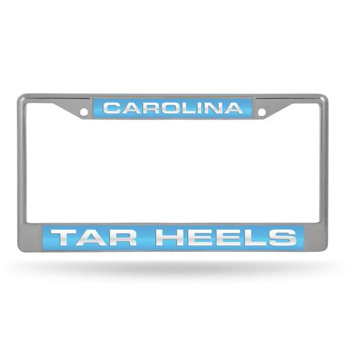 North Carolina Tar Heels License Plate Frame Laser Cut Chrome