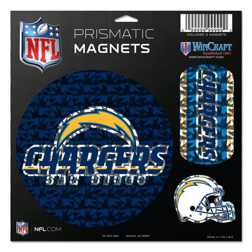 San Diego Chargers Magnets 11x11 Die Cut Prismatic Set of 3