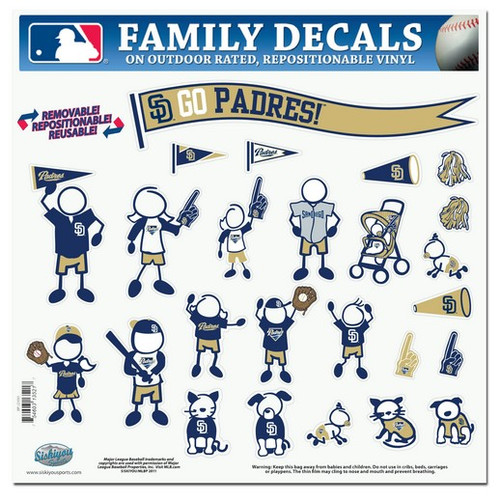 San Diego Padres Decal 11x11 Family Sheet